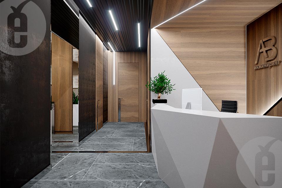 Двери в шпоне дуба в современном дизайне офиса