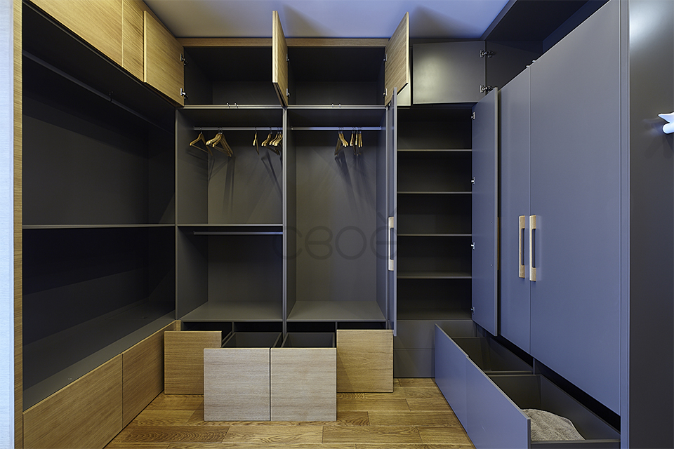 Расположение шкафов в гардеробной