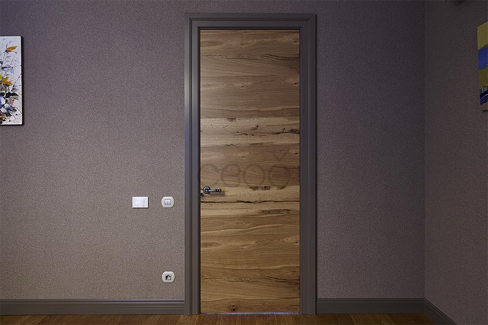 Шпонированные двери с наличником в эмали