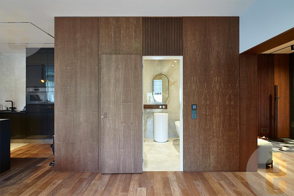 Межкомнатные двери в скрытом коробе в шпоне и эмали